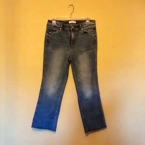 Vintage Straight Leg Jeans with Frayed Raw Hem